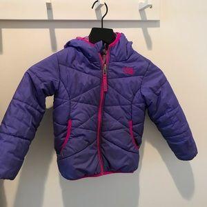 North Face kids jacket 4 purple reversible pattern